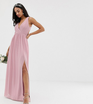 TFNC bridesmaid exclusive pleated maxi dress with back detail in pink