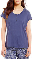 Karen Neuburger Crochet-Yoke Henley Sleep Top