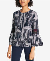 Tommy Hilfiger Printed Crochet-Inset Top, Created for Macy's