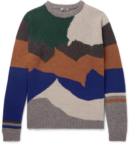 Lanvin Intarsia Wool And Cashmere-Blend Sweater