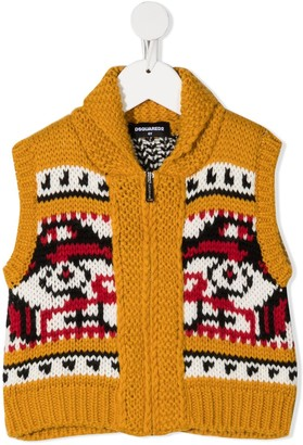 DSQUARED2 Intarsia-Knit Zip-Front Top