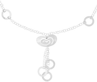 Sterling Brushed Heart & Circle Drop Link Necklace