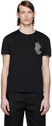 Alexander McQueen Black Embroidered Floral Logo T-Shirt