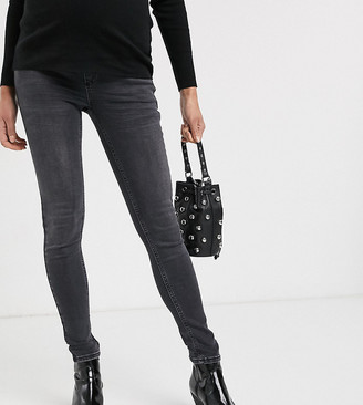 Topshop Maternity Jamie overbump skinny jeans in washed black
