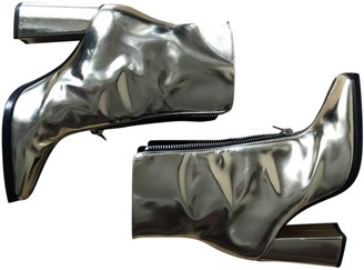 MSGM Silver Leather Ankle boots