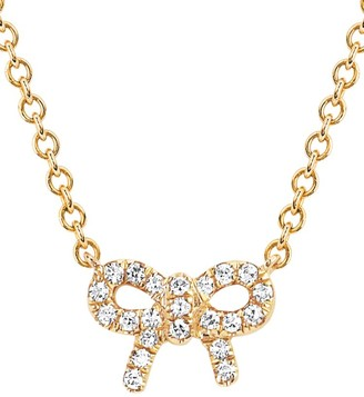 Ef Collection 14K Yellow Gold & Diamond Mini Bow Necklace