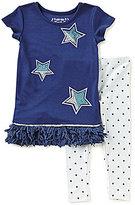 Flapdoodles Little Girls 2T-6X Sparkle Star-Print Dress & Star Leggings Set