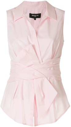 Paule Ka Bow Detail Poplin Sleeveless Shirt