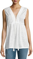 Max Studio Embroidered Knit Jersey Top, White