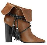 Barbara Bui Tassel Tie Foldover Leather Booties
