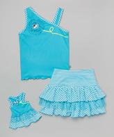Dollie & Me Turquoise Ruffle Top Set & Skirt & Doll Dress - Toddler & Girls