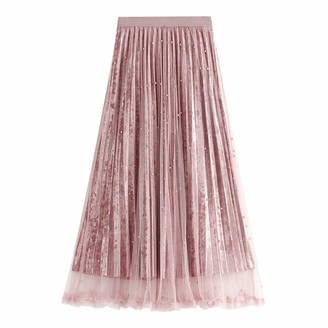 Finerun Women's Pleated Skirts Solid Color A-line High Waist Elastic Mid Length Dress Pink