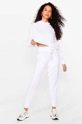 Nasty Gal Womens Pair Up Knitted Hoodie and Jogger Set - White - L