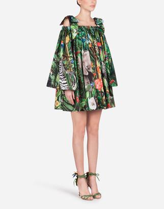 Dolce & Gabbana Short Poplin Dress With Braces And Jungle Print