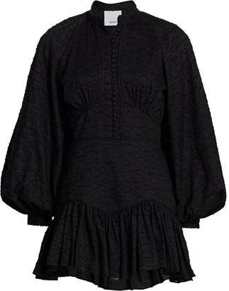 Acler Bastia Puff Sleeve Lace-Up Back Dress