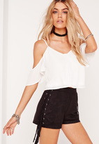 Missguided Cold Shoulder Button Front Crop Top White