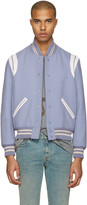 Saint Laurent Blue Wool Teddy Bomber Jacket