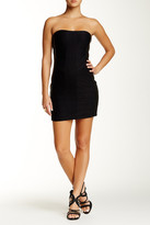 Sky Genuine Leather Paneled Strapless Dress