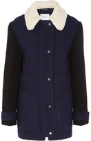 Carven Faux Shearling-trimmed Wool-blend Felt Coat - Navy