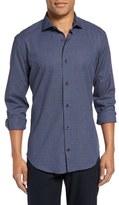 Eleventy Trim Fit Micro Windowpane Sport Shirt