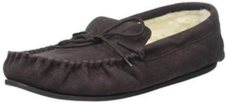 SNUGRUGS Wool Lined Suede Moccasin With Rubber Sole, Men's Low-Top Slippers