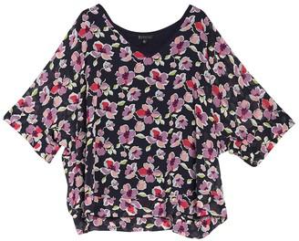 B Collection By Bobeau Zaira Mixed Media Kimono Top (Plus Size)
