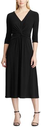 Chaps Petite Knot-Front Midi Dress