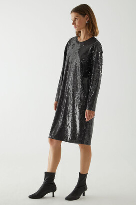 Cos Long-Sleeve Oversized Sequinned Dress
