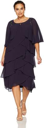 SL Fashions Women's Size Chiff JKT Dress W Beading Plus