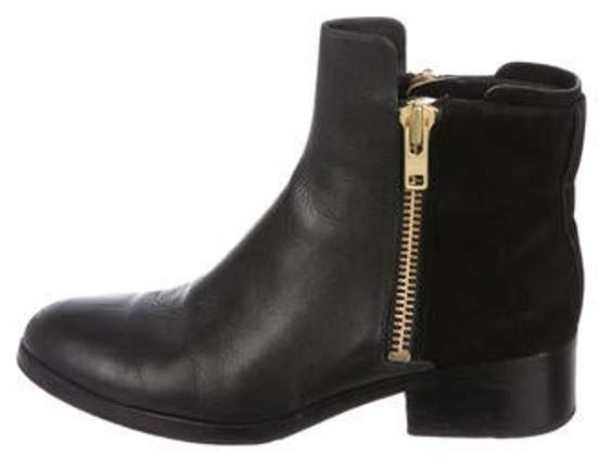 3.1 Phillip Lim Leather Round-Toe Ankle Boots Black Leather Round-Toe Ankle Boots