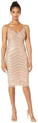 Adrianna Papell Short Beaded Dress with Crystal Beading (Rose Gold) Women's Dress