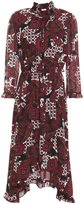 Claudie Pierlot Ruffled Printed Crepon Midi Shirt Dress