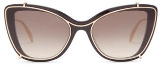 Alexander McQueen Contoured-frame Cat-eye Acetate Sunglasses - Black Grey
