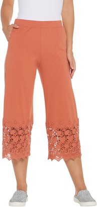 Logo by Lori Goldstein Knit Crop Pants with Crochet Detail