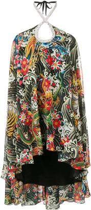 Richard Quinn Dragon Printed Asymmetric Dress
