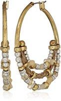 Lucky Brand Beaded Metal Hoop Earrings