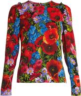 Dolce & Gabbana Floral-print silk-blend charmeuse top