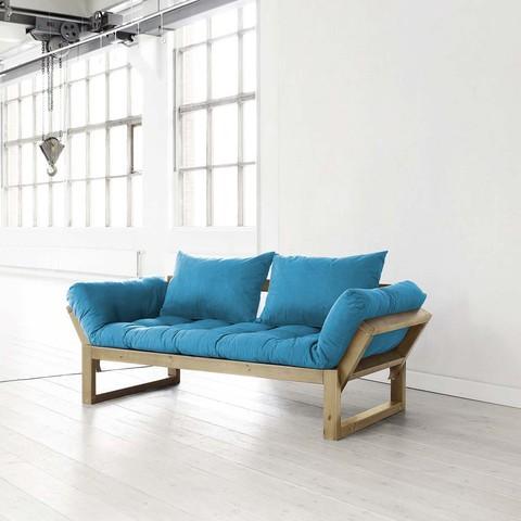 Fresh Futon Edge Blue With Natural Frame