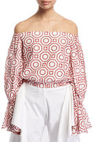 Alexis Micael Embroidered Off-The-Shoulder Top, Red/White