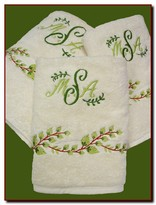 The Well Appointed House Set of Six Custom Embroidered Towels with Greens - Optional Monogram