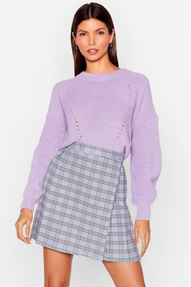 Nasty Gal Womens Crew Neck Chunky Knit Sweater - Lilac
