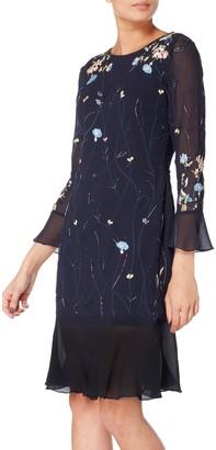 Raishma Embellished Floral Fluted Hem Dress, Navy