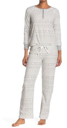 Kathy Ireland Waffle Knit Fair Isle 2-Piece Pajama Set