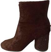 Maison Margiela Burgundy Pony-style calfskin Ankle boots