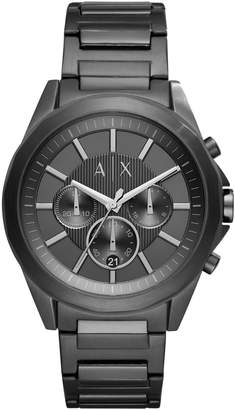 Armani Exchange Chronograph Drexler Gunmetal IP Leather Strap Watch