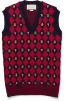 Gucci Embroidered Alpaca And Wool-Blend Sweater Vest