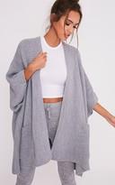Basitkn Grey Chunky Knit 3/4 sleeve Wrap Cardigan