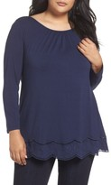 Daniel Rainn Plus Size Women's Scallop Trim Tee