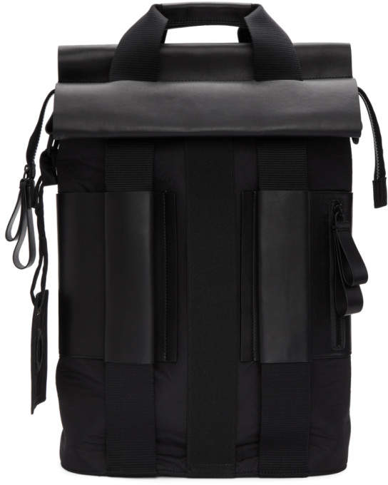 Craig Green Black Leather and Nylon Backpack