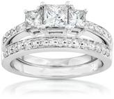 Ice 1 CT TDW Princess Cut Diamond 14K White Gold 3 Stone 2-Piece Bridal Set